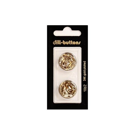 Dill Buttons 20mm 2pc Shank Metal Antique Gold