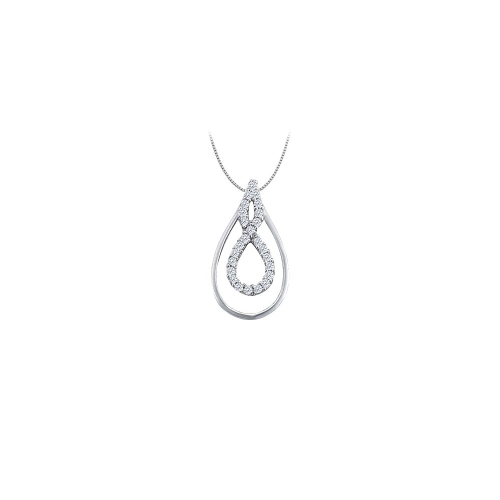 0.25 Carat Double Teardrop Pendant with Cubic Zirconia in Sterling Silver - image 2 of 2