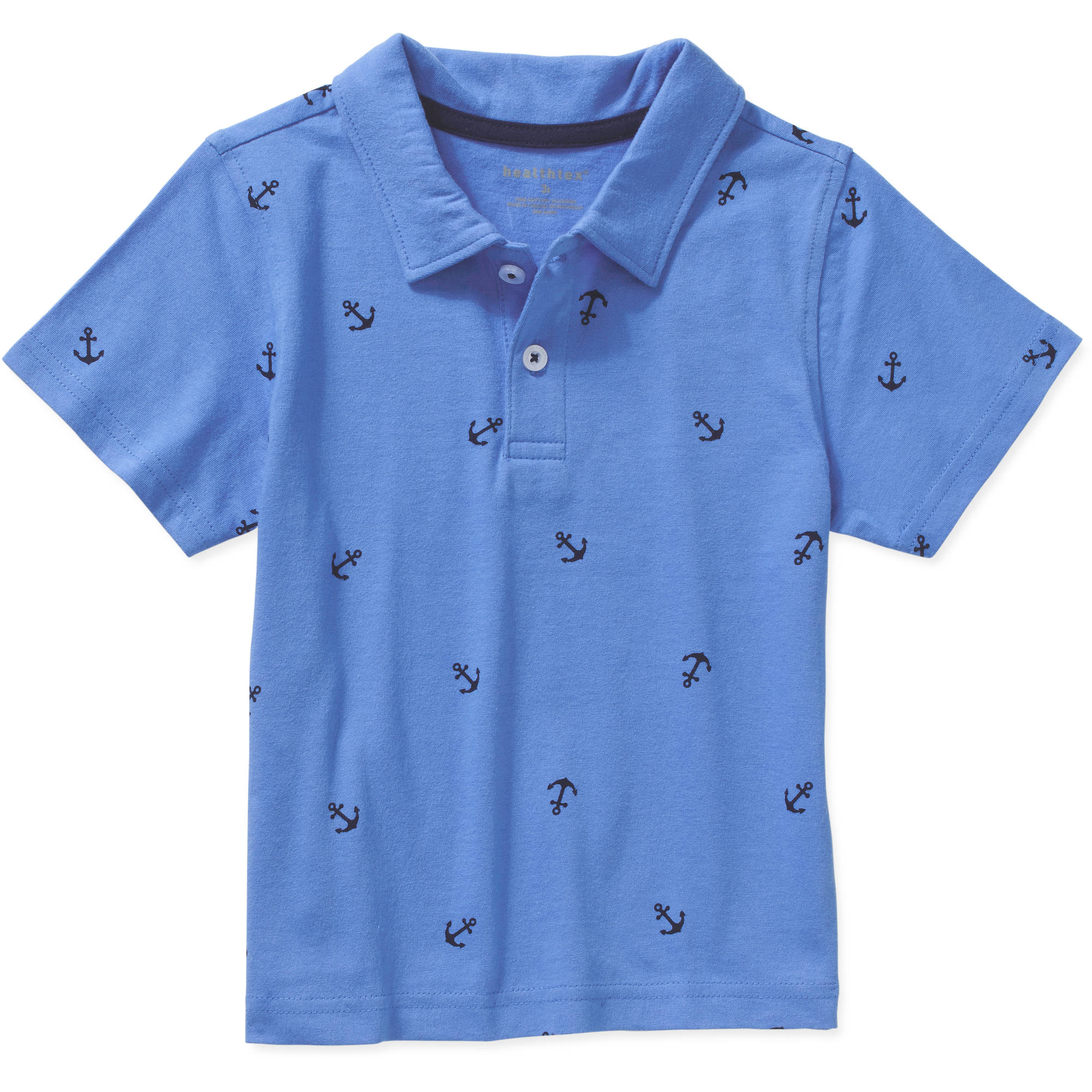 Healthtex Toddler Boys' All-Over Print Cotton Polo Shirt