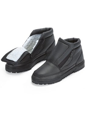 Water Resistant Fleece Insulated Snow Boots with Flip-Out Ice Grippers and Skid-Resistant Soles