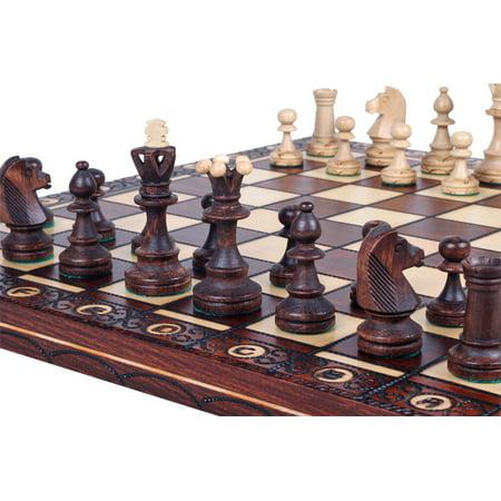 16 Wood Chess - Elegant Wood Chess Set, Chess Pieces, Chess Board & Storage