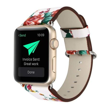 for Apple Watch Bracelet, Floral Printed Leather Watch Band 38mm Strap for AppleApple Watch Flower Design Wrist Watch Bracelet (White+Red Rose)