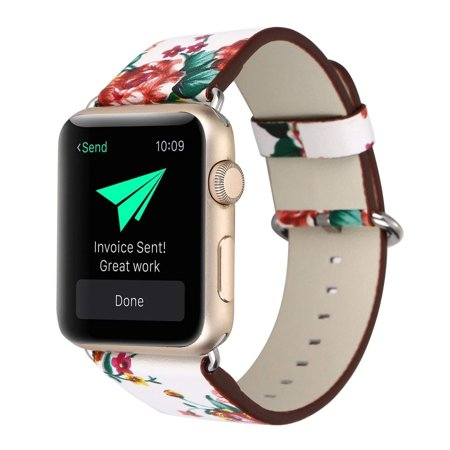 Apple Watch Bracelet, Floral Printed Leather Watch Band 42mm Strap for Apple Watch Flower Design Wrist Watch Bracelet (White+Red Rose)