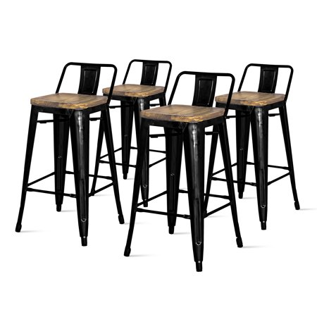 Sensational Metropolis Low Back Metal Counter Stool With Wood Seat Set Of 4 Multiple Colors Andrewgaddart Wooden Chair Designs For Living Room Andrewgaddartcom