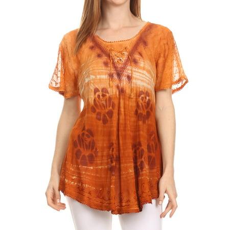 Sakkas Reya Lace Embroidered Cap Sleeve Corset Tie Dye Blouse Top Shirt - Brown - One Size Regular