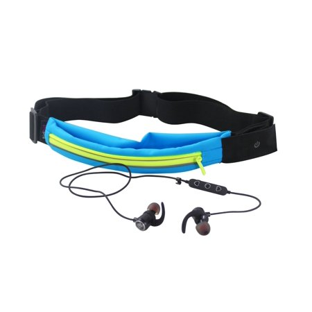 Bolan Bluetooth Earbud Set -Plus- LED Light Up Exercise Runners Belt with Expandable Storage Pocket/Waterproof for Phone Keys Cash Credit