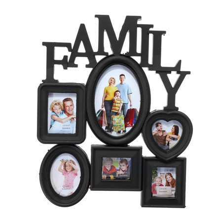 6-Opening Multi-sized Picture Frame Family Wall Collage Photo Holder Wall Table Display Home Bedroom Decor 30x37cm, White Black (Birthday Photo Holder)