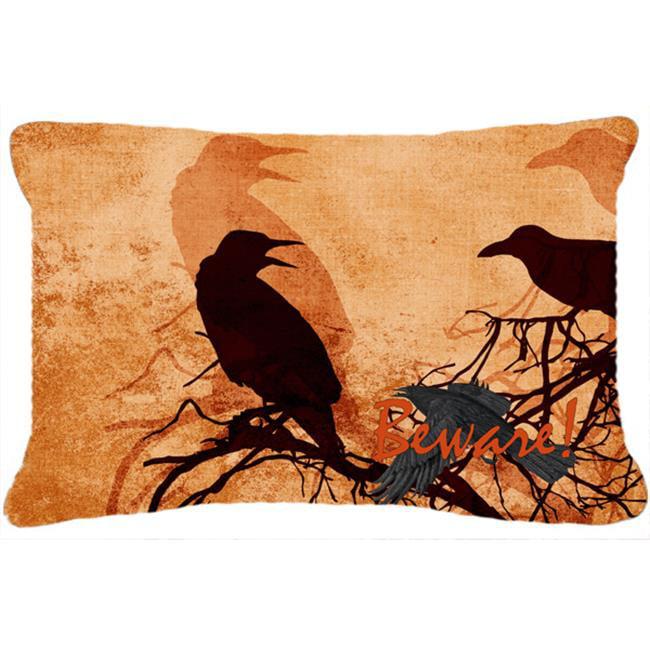 carolines treasures sb3009pw1216 beware of the black crows halloween indoor outdoor fabric decorative pillow