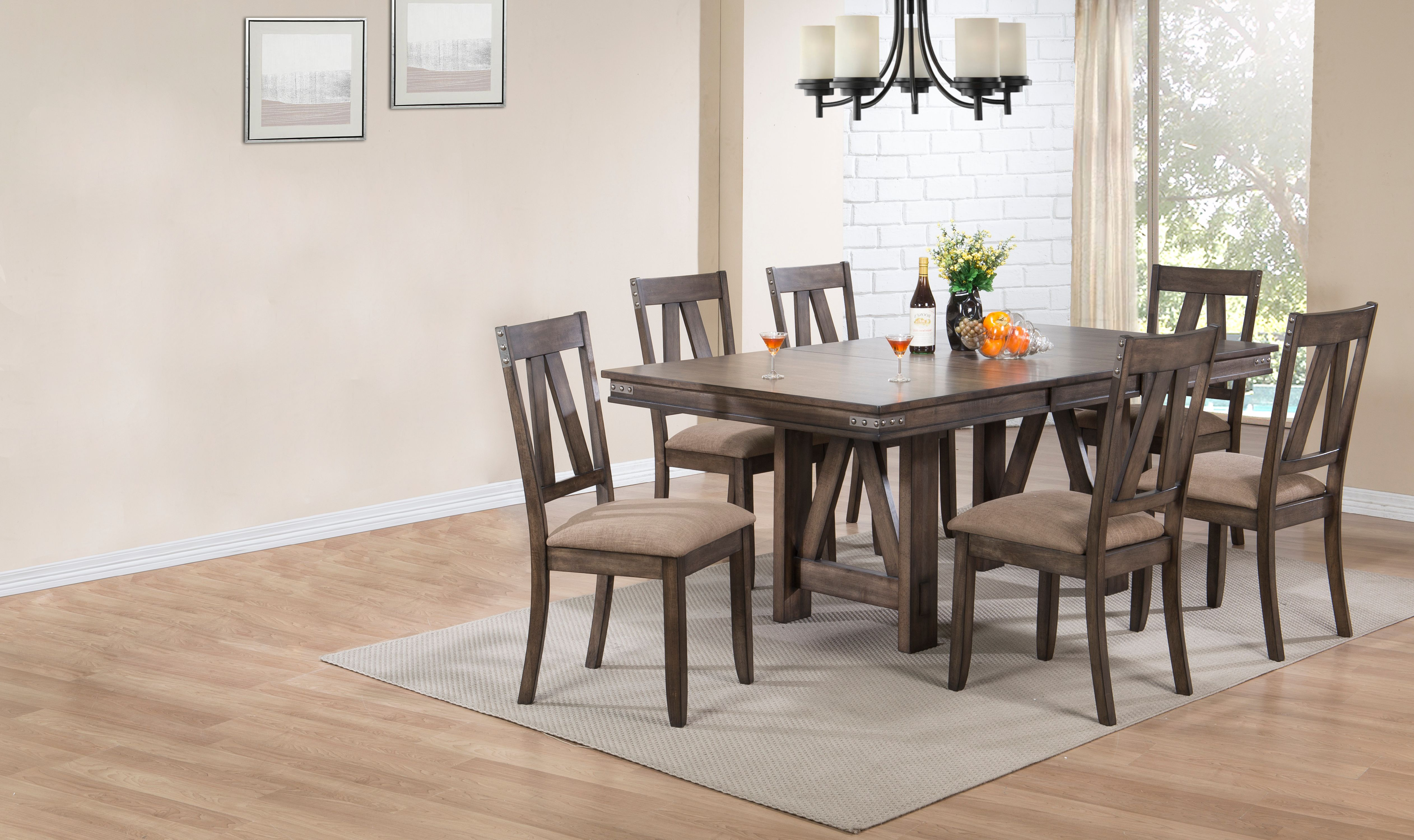 7 Piece Brown Wood Rectangle Dinette Dining Room Table & 6 Side Chairs Set by unknown