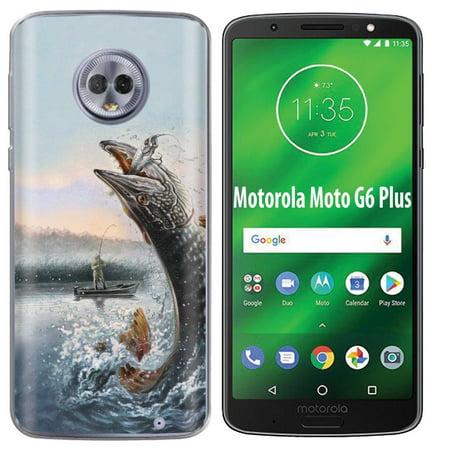 best service 1d955 1de1f [NakedShield] Motorola Moto G6 Plus [Black] Ultra Slim TPU Phone Cover Case  [Fishing Print]
