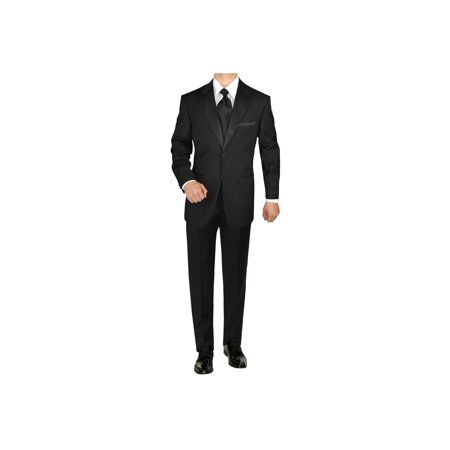 Adjustable Tuxedo - GN GIORGIO NAPOLI Men's Tuxedo Suit 1 Button Peak Lapel Jacket Adjustable Pants Black
