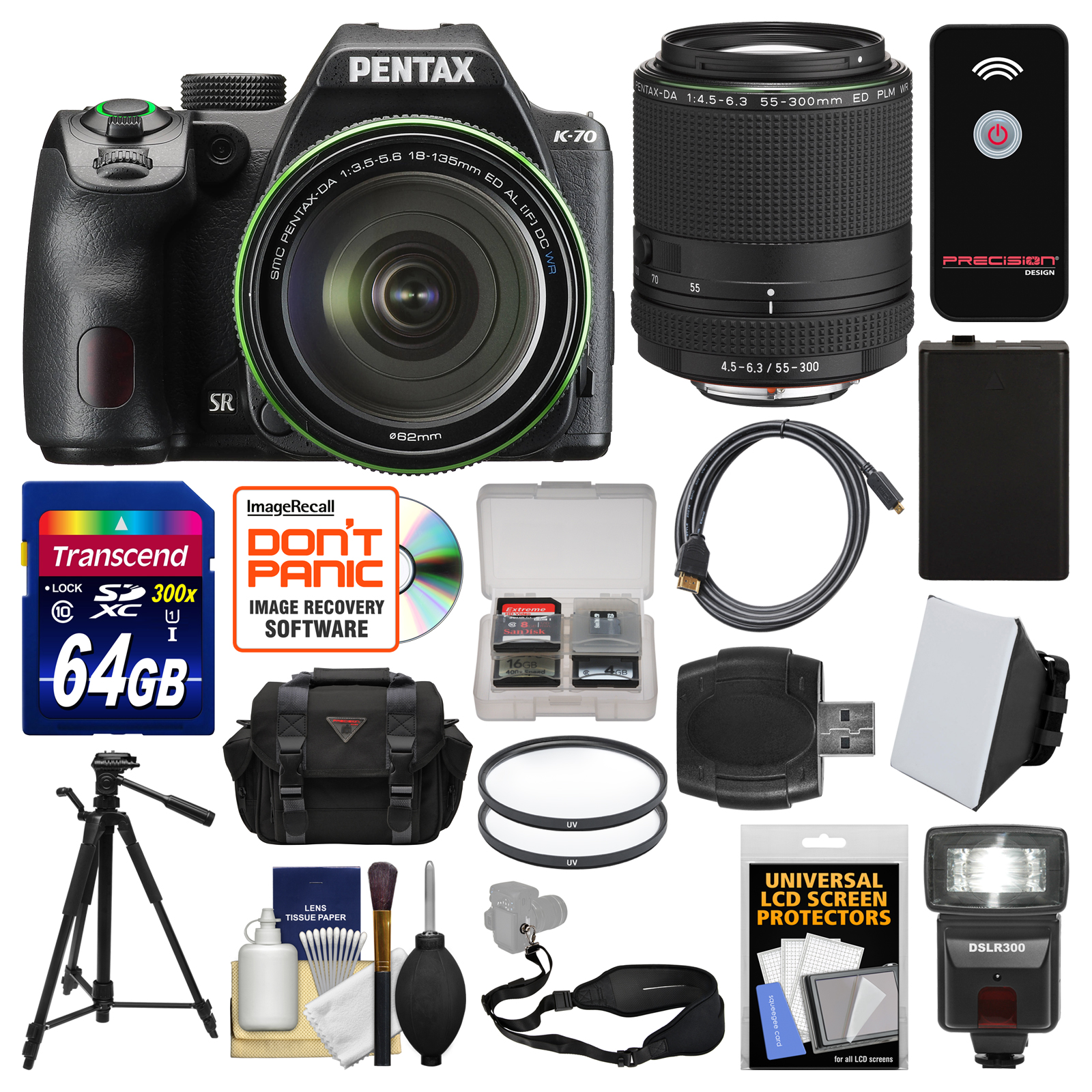 Pentax K-70 All Weather Wi-Fi Digital Camera & 18-135mm WR Lens (Black) with 55-300mm Lens + 64GB Card + Case... by Pentax