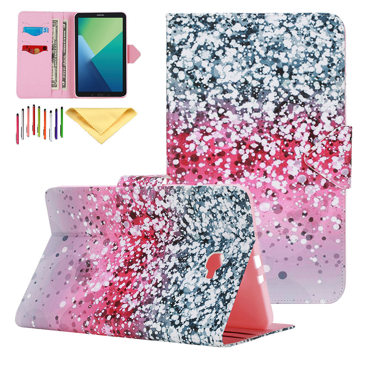 Goodest Case for Samsung Galaxy Tab A 7.0 2016 Release, Premium Leather Slim Shell Stand Folio Shocproof Lightweight Full Protection Kids Friendly Cover for Galaxy Tab 7.0 SM-T280/T285,Glitter Sand