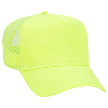 OTTO Neon Polyester Twill 5 Panel Pro Style Mesh Back Trucker Hat - N. Yellow (5 Panel Skateboard Hats)
