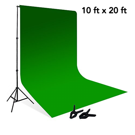 Loadstone Studio 10' x 8.5' Background Stand Backdrop Support System Kit + 10' x 20' 100% Cotton Green Chroma Key Muslin Backdrop Background , WMLS2827 Chroma Key Green Muslin