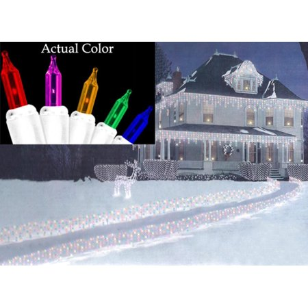 Set of 150 Multi-Colored Path-Cicles Mini Christmas Lights - White Wire