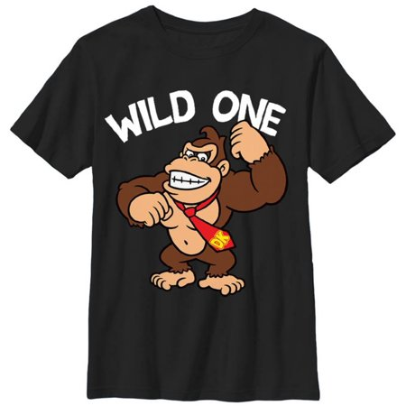 Youth: Donkey Kong- Wild One Apparel Kids T-Shirt - Black