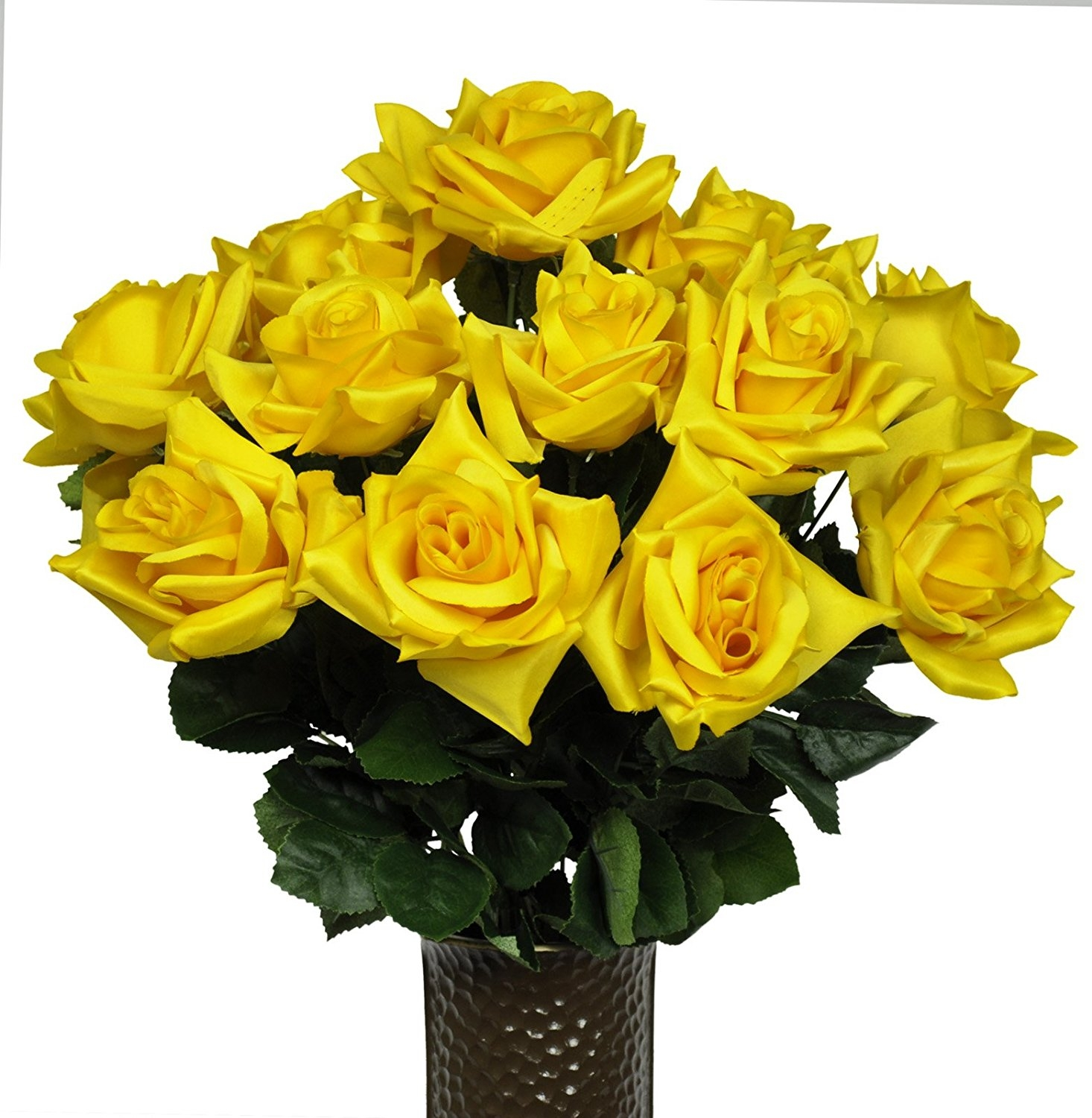 Yellow Diamond Rose Artificial Bouquet, featuring the Stay-In-The-Vase Design(c) Flower Holder (MD1341)