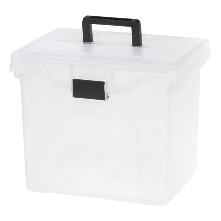 - IRIS Letter Size Portable Hanging File Storage Box with Organizer Top, Clear