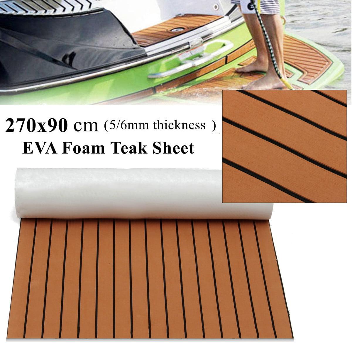 "1Pcs 35.4'' x 106.30"" 5mm/6mm ThicknessMarine Boat Sheet Teak Decking Flooring Teak EVA Foam Yacht Teak Decking Self-Adhesive"