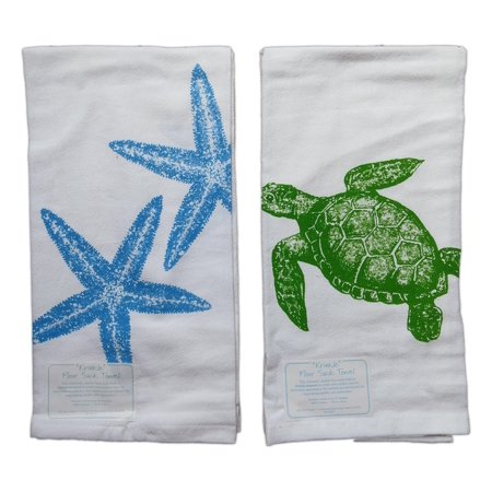 Set of 2 Nautical SEA TURTLE & STARFISH Flour Sack Kitchen Towels by Kay Dee ()