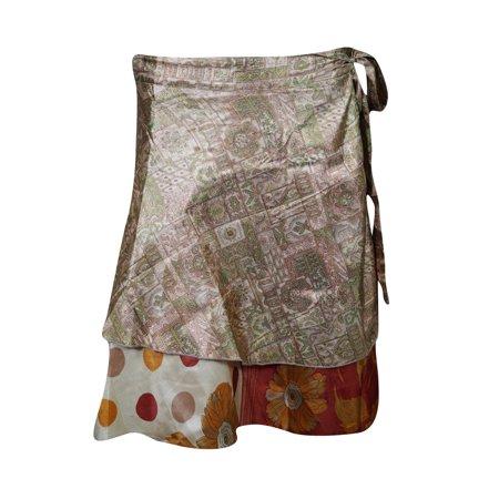 Mogul Magic Wrap Skirt Vintage 2 Layer Printed Silk Sari Boho Chic Wrap Skirts