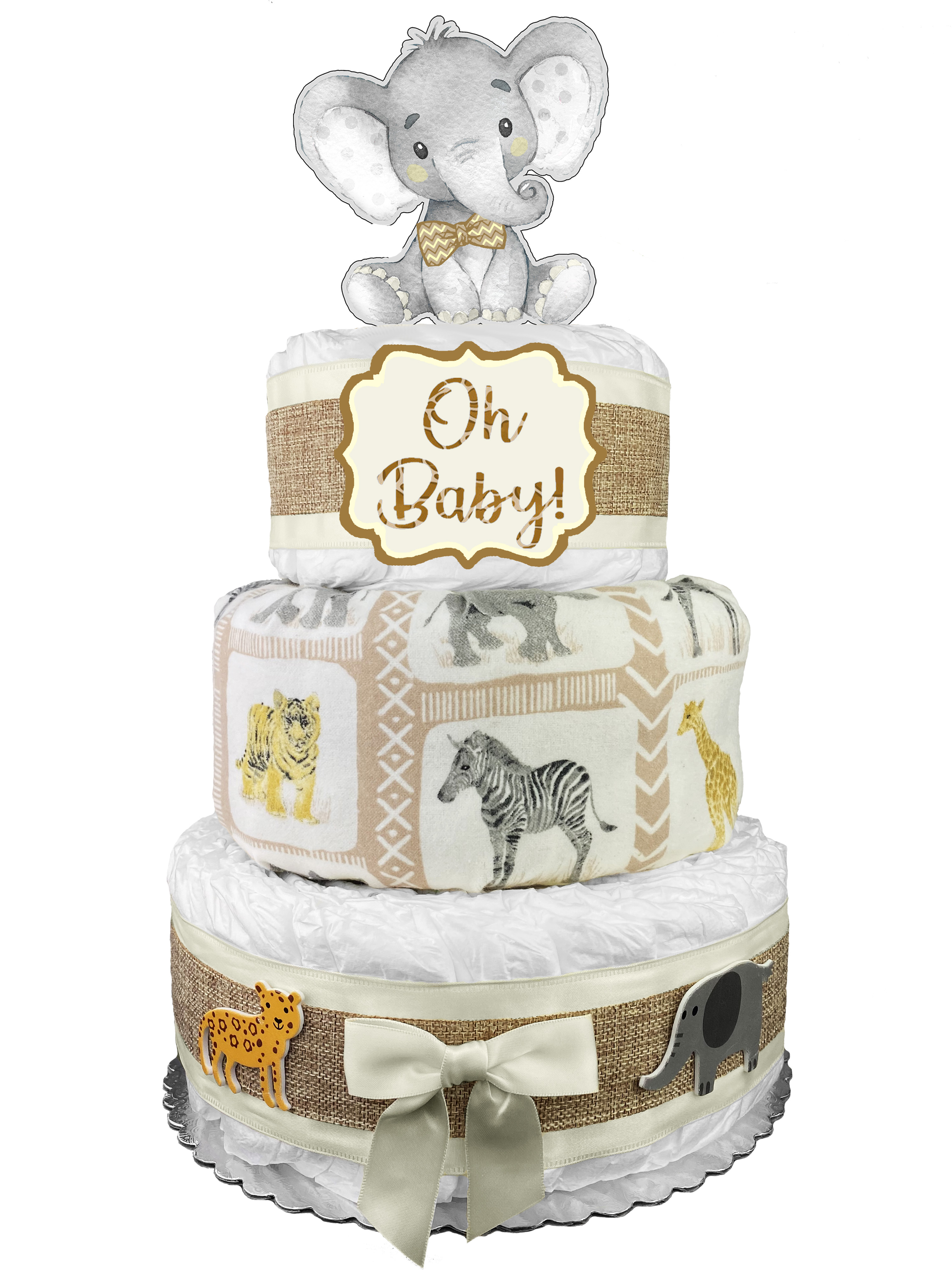 Jungle Safari Diaper Cake Bassinet Baby Shower Gift Centerpiece