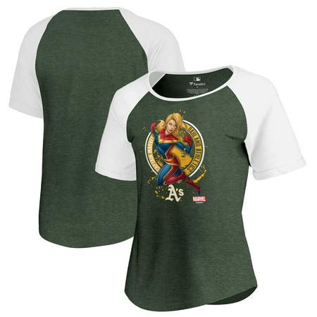 Oakland Athletics Fanatics Branded Women's Captain Marvel Seal Raglan Tri-Blend T-Shirt - (Oakland Seals)
