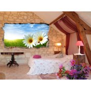 Startonight 3D Mural Wall Art Photo Decor Daisy in the Sun Amazing Dual View Surprise Wall Mural Wallpaper for Bedroom Flowers Collection Wall Paper Art Gift Large 47.24 '' By 86.61 ''