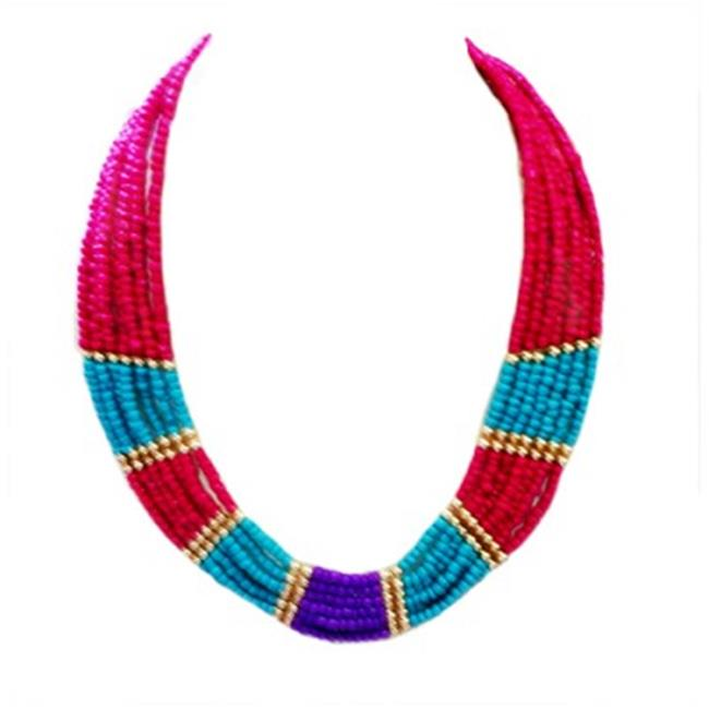 C Jewelry Multicolor Turquoise Fuchsia And Purple Indian Beaded Bib Necklace