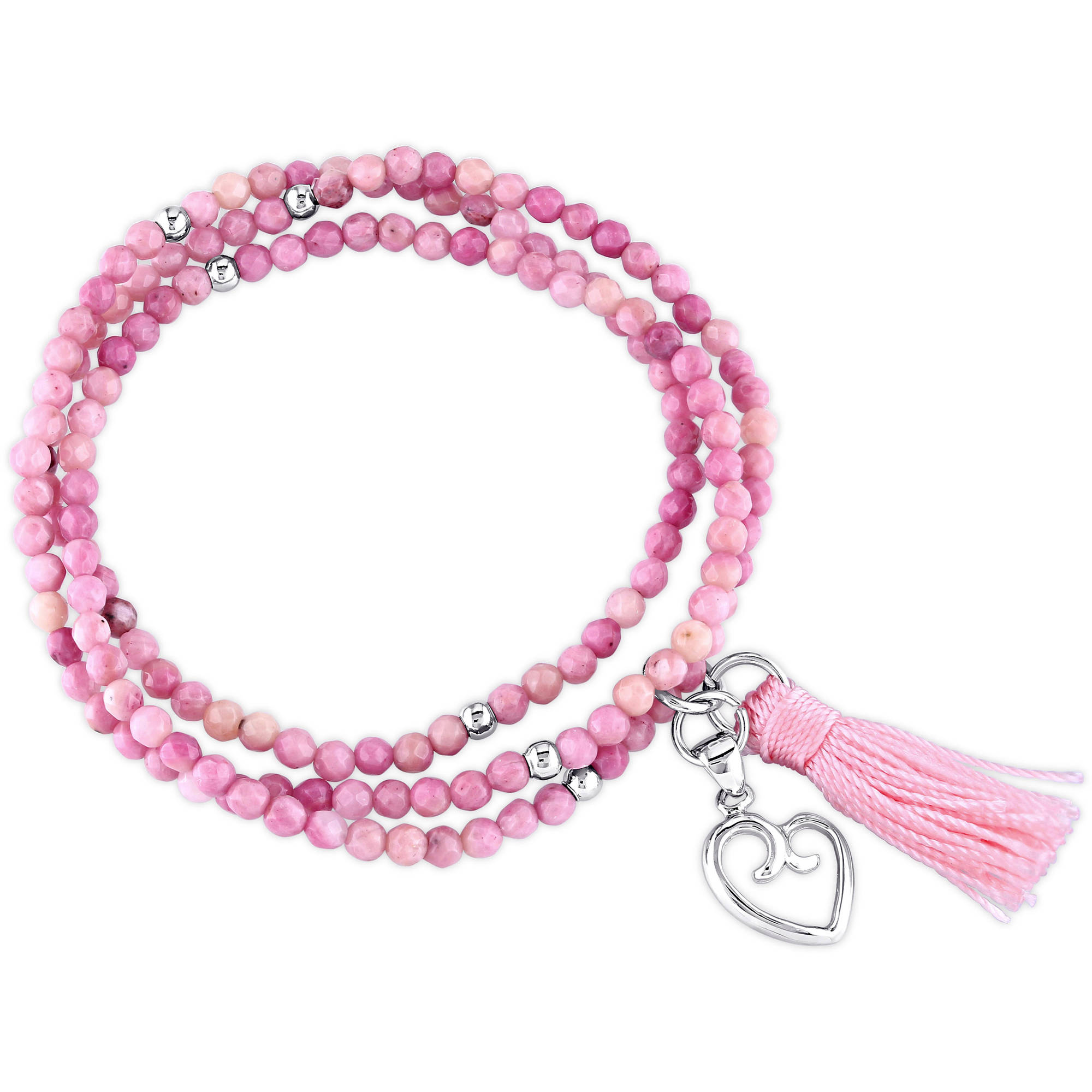 Tangelo Rhodonite and Pink Tassel Sterling Silver Endless Heart Charm Bracelet, 20""