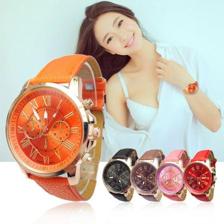 Tuscom 2015 Women Stylish Numerals Faux Leather Analog Quartz Wrist Watch (Wristwatch 2015)