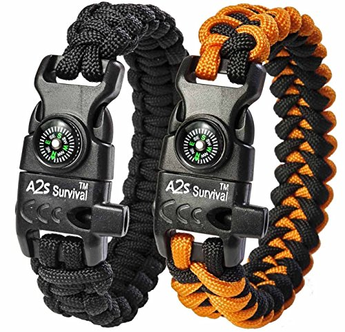 A2S SURVIVAL Paracord Bracelet K2-Peak Series Survival Gear Kit with Embedded Compass, Fire Starter, Emergency Knife & Whistle Pack of 2... by