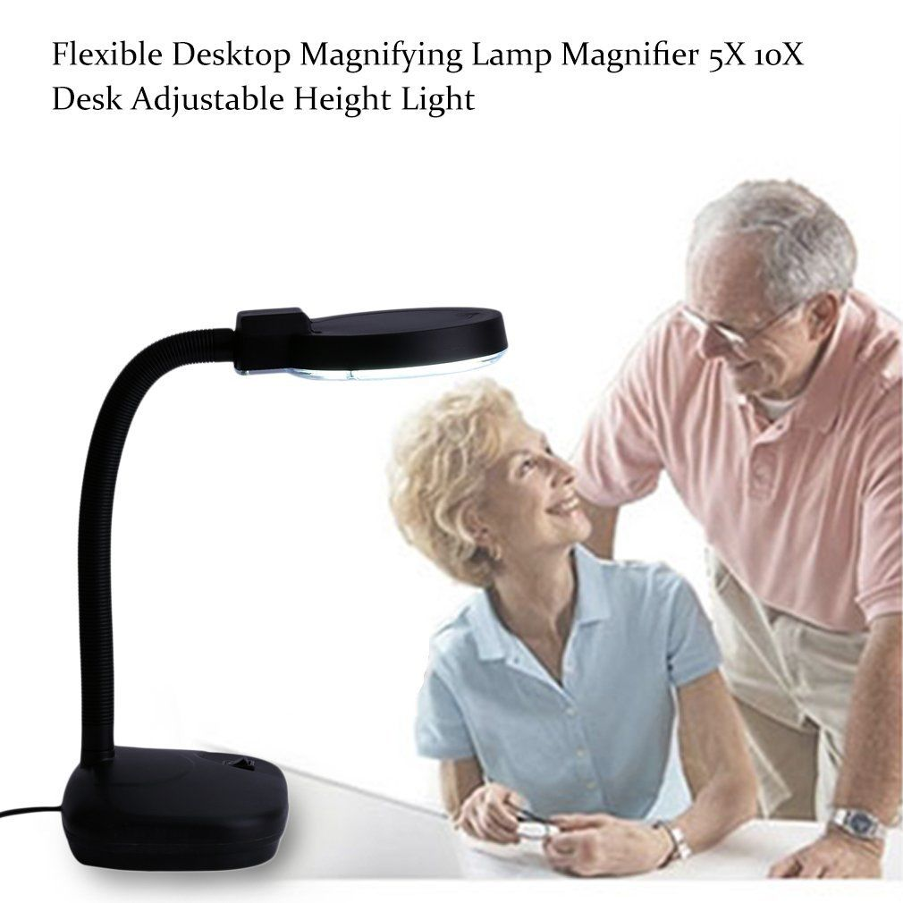 Black Tabletop Gooseneck Magnifying Lamp Magnifier 5X 10X Desk Adjustable Light by YKS