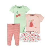 Gerber Baby Girls Onesies® Brand Bodysuit, Shirt, Skirted Panty, & Pants Set, 4-Piece