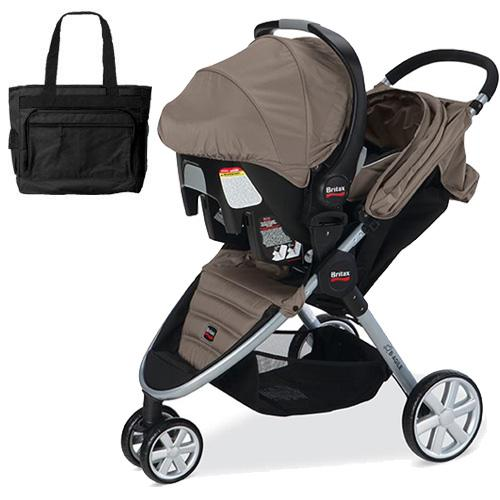 Britax  B-Agile and B-Safe Travel System with car seat and diaper bag in Sandsto
