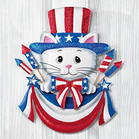 (Uncle Sam Top Hat Cat Patriotic Pride Americana 4th of July USA Decor Metal Wreath Wall Decoration)