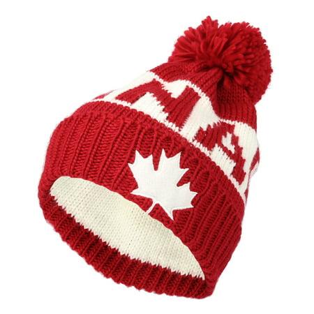 62c1ad64713 WITHMOONS Knit US Canada Flag Union Jack Pom Beanie Hat JZP0027 (Red) -  Walmart.com