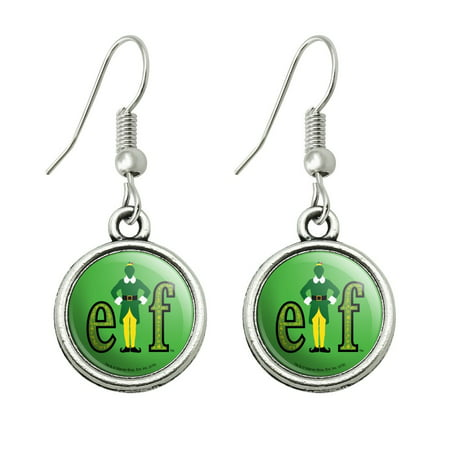 Elf Movie Logo Novelty Dangling Drop Charm Earrings