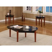 K&B 3-piece Cocktail End Tables Specked Black Faux Marble