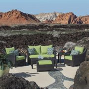 RST Brands  Deco 6-piece Love and Club Deep Seating Set with Gingko Green Cushions