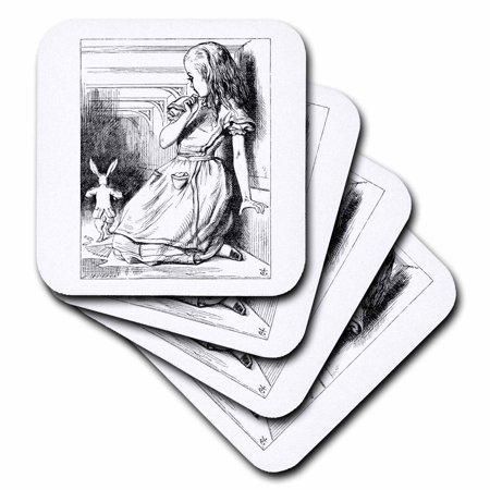 3dRose Follow the white rabbit. Alice in Wonderland John Tenniel illustration, Soft Coasters, set of
