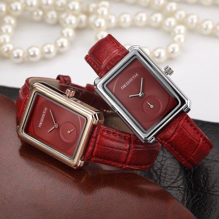 REBIRTH Femmes Marque Montres-Bracelets Pour Femmes Montre En Cuir De Mode Quartz Montres Marron + rose d'or - image 5 de 7