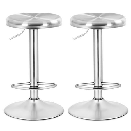 Costway 2 Pcs Brushed Stainless Steel Swivel Bar Stool Seat Adjustable Height Round - Bar Height Stainless Steel Top