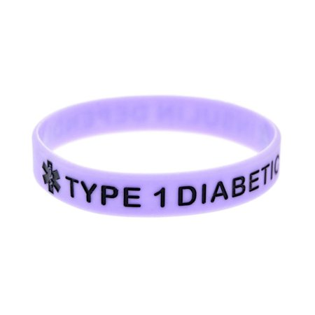 KABOER TYPE 1 DIABETIC Silicone Rubber Medical Alert Emergency ID Wristband Bracelet For Women Men Emergency Id Band