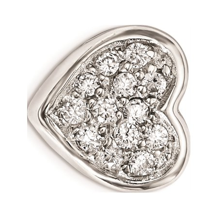 Leslies Fine Jewelry Designer 925 Sterling Silver Rhodium plated CZ Heart Slide Pendant Gift