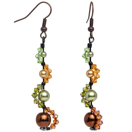 """Body Candy Handcrafted Autumn Nymph Dangle Earrings Created with Swarovski Crystals 2 1/4"""""""