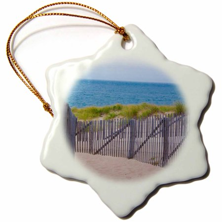 3dRose USA, Massachusetts. Dunes and path leading to a Cape Cod beach., Snowflake Ornament, Porcelain, 3-inch