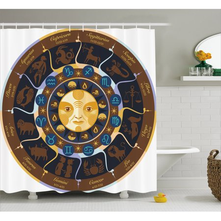 Astrology Shower Curtain  Aries Taurus Gemini Cancer Leo Virgo Libra Scorpio Horoscope Signs  Fabric Bathroom Set With Hooks  69W X 84L Inches Extra Long  Brown Yellow And Blue  By Ambesonne