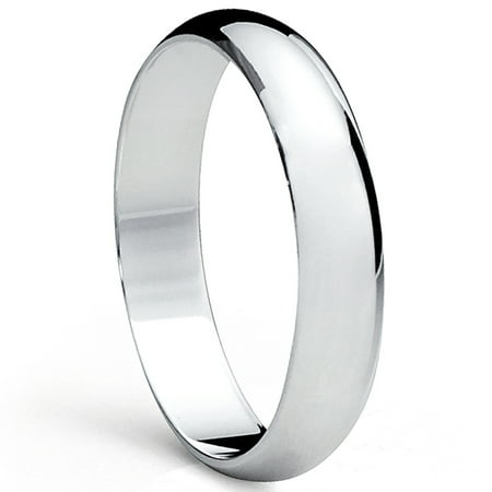 Men's 5MM Dome High Polish Sterling Silver Plain Wedding Band Ring Sizes 5 to 12 Silver Polished Finish Plain Band